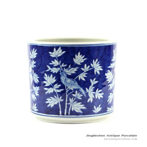 RYLU64_Blue and White Bamboo Bird Pen Holder