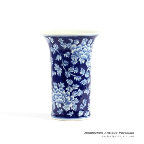 RYLU75_ PEONY flower pattern hand painted blue and white ceramic vases for cheap