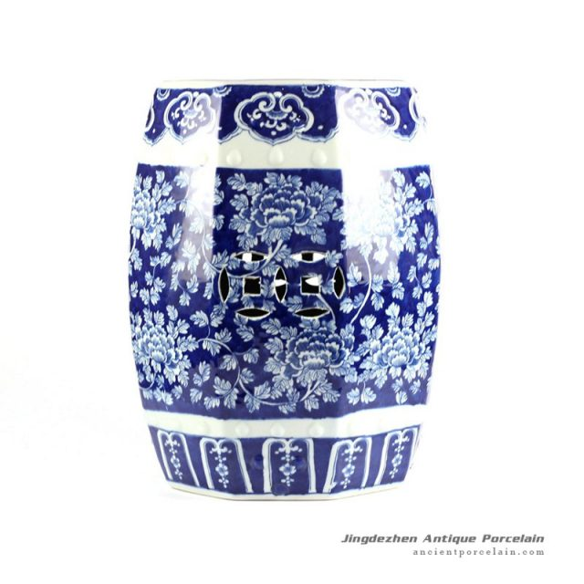 RYLU79-8SIDE_Hand painted peony pattern blue and white 8 sides ceramic stool online sale