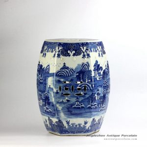 RYLU91-C_6 sides hand paint landscape pattern blue and white bathroom ceramic stool furniture