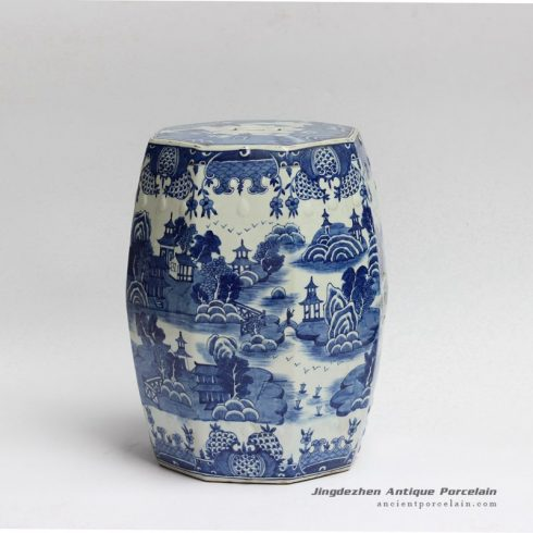 RYLU91_Water town in southern land pattern hand painted 8 side oriental ceramic garden stools