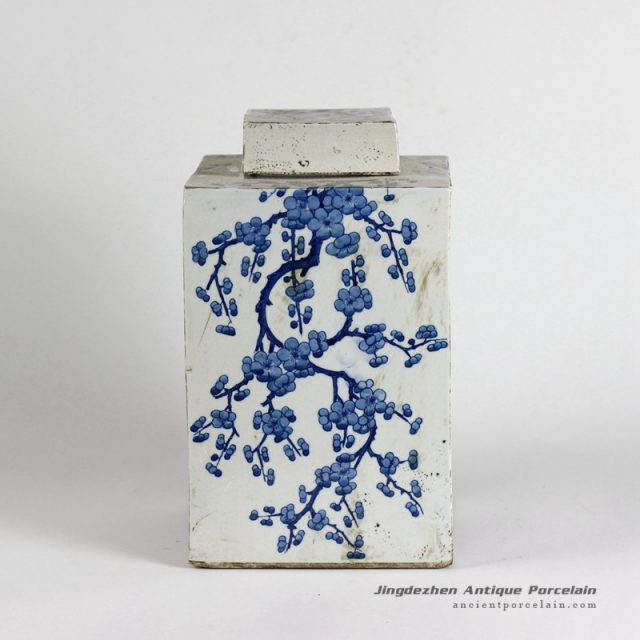 RYQQ10_12inch Blue and White hand painted plum blossom Square Jar