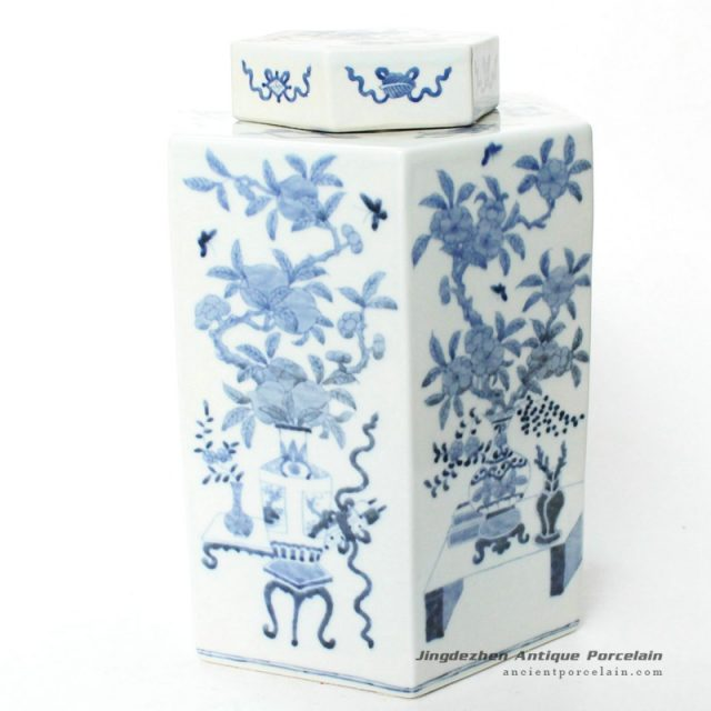 RYQQ11_12inch Hand painted Blue and White Pomegranate design JarRYQQ11_12inch Hand painted Blue and White Pomegranate design Jar