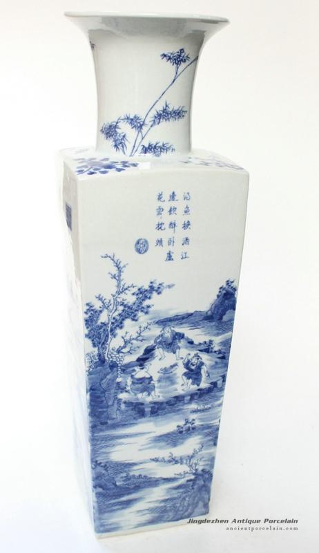 RYQQ12_19inch Hand painted Blue White Ceramic Vase