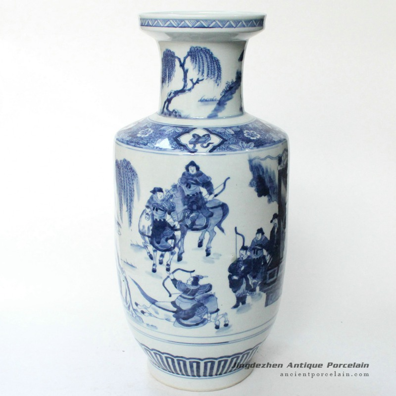 Ryqq1416inch Qing Dynasty Reproduction Blue White Ceramic Vase