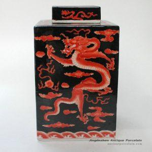 RYQQ22_Hand painted dragon design Qing dynasty reproduction Ceramic Jar