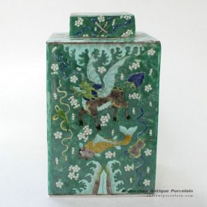 RYQQ23_Chinese kylin design Qing dynasty reproduction Square Jar