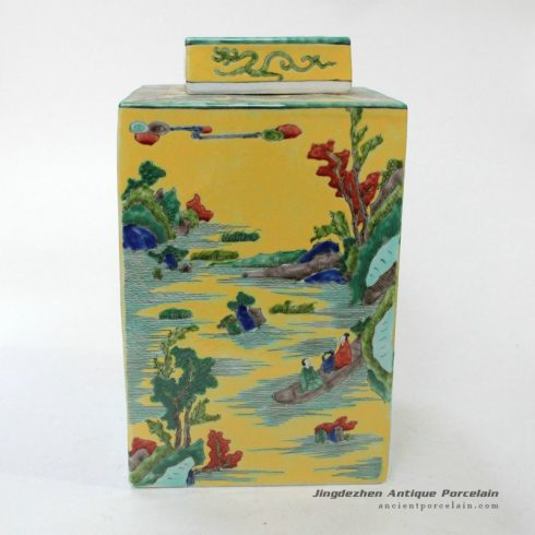 RYQQ24_12inch Chinese landscape design Plain tricolour Ceramic Jar