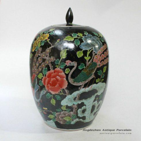 RYQQ25_13inch Qing dynasty reproduction Plain tricolour Ceramic Melon Jar