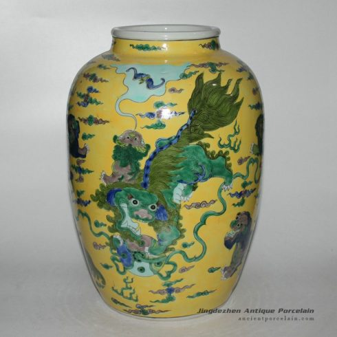 RYQQ27_14inch Hand painted lion design Ceramic Vase