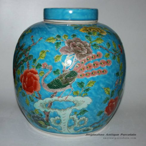 RYQQ28_ Flower bird design Qing dynasty reproduction Ceramic Melon Jar