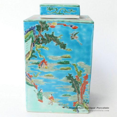 RYQQ30_12inch Qing dynasty reproduction Square Ceramic Jar