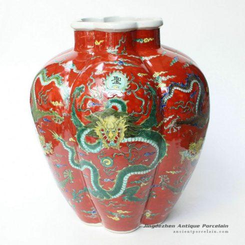 RYQQ32_14inch Plain tricolour Red Dragon Ceramic Vase
