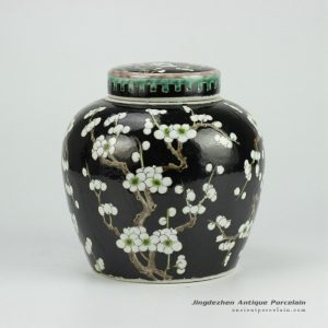 RYQQ34-C_Black Ceramic Plum blossom Jar