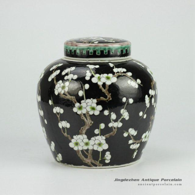 RYQQ34-C_Black Ceramic Plum blossom Jar