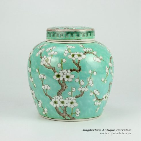 RYQQ34-D_Green Ceramic Plum blossom Jar