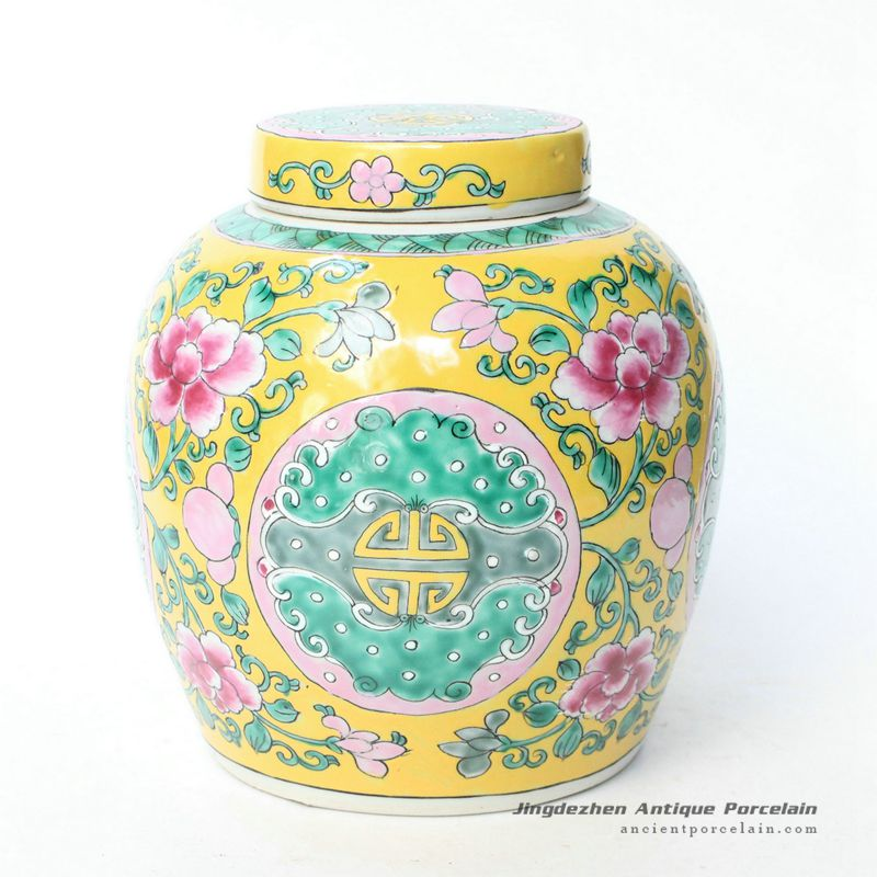 RYQQ34_7.5inch Hand painted Floral Melon Jar