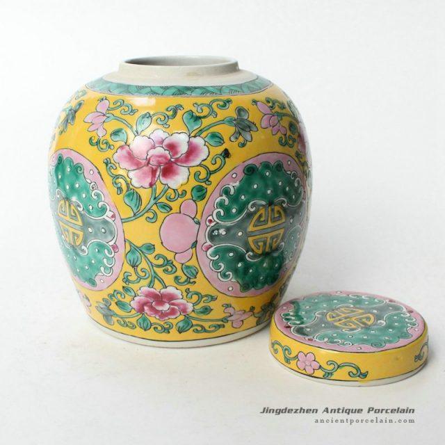 Ryqq34 7 5inch Hand Painted Floral Melon Jar Chinese Antique Porcelain Jingdezhen Ancient