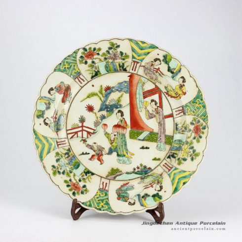 RYQQ35-OLD_Antique famille rose hand painted Chinese ancient ladies pattern pottery plates