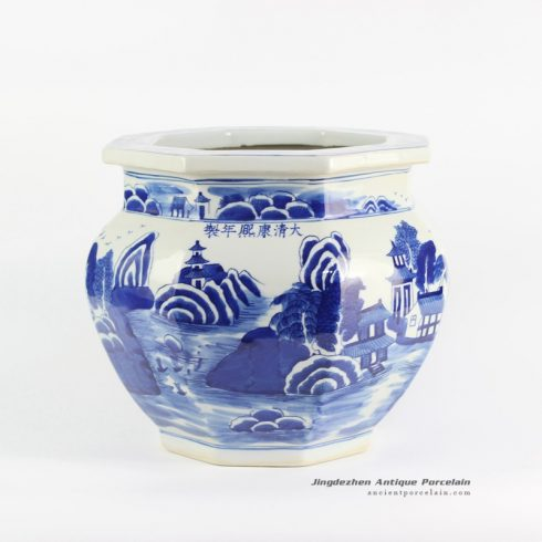 RYLU101-B_Hand paint blue color porcelain planter