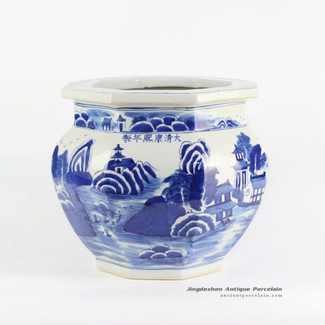 RYLU101-B_Hand paint blue color porcelain planter
