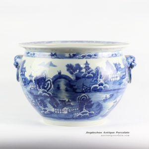 RYLU105_Asian garden pattern hand paint ceramic pot with two lion handles