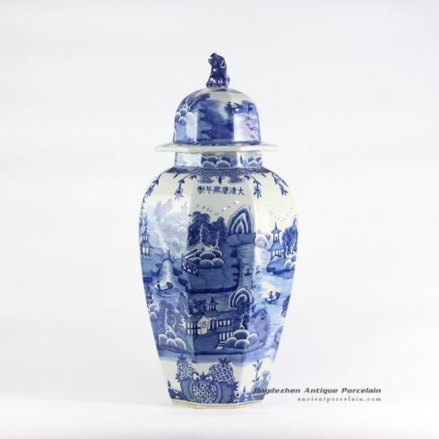 RYLU106_hexagonal blue and white landscape china ware ginger jar with lion lid