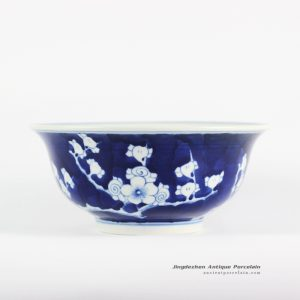 RYLU107-A_Dark blue background winter sweet pattern antique copy porcelain bowl