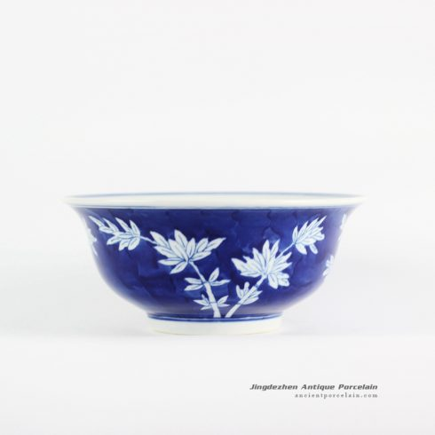 RYLU107-B_Dark blue color background hand paint bamboo pattern collectable Chinese style bowl