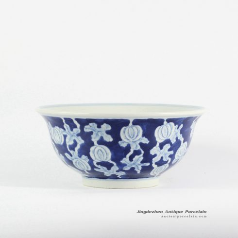 RYLU107-c_Melon vine pattern blue and white pottery bowl