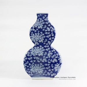 RYLU108-B_calabash shape blue and white vintage style peony flower pattern ceramic vase