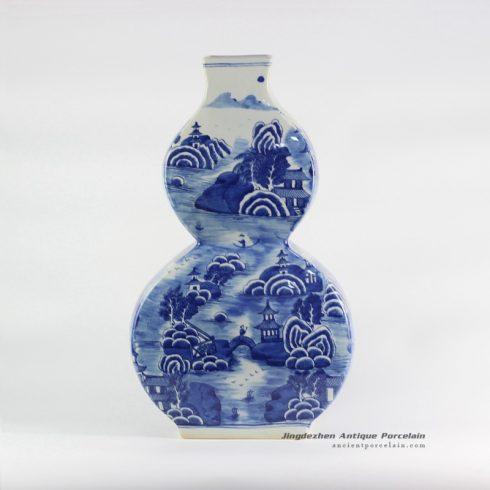 RYLU108-C_flat calabash shape landscape pattern cobalt blue ceramic vase