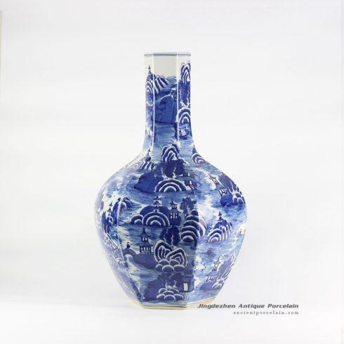 RYLU109_hexagonal design handicraft Jingdezhen China artisan made landscape view blue ceramic vase