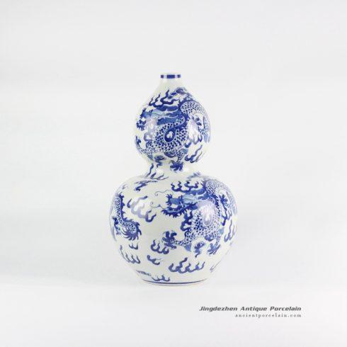 RYLU111_Blue and white cucurbit shape hand paint dragon pattern ceramic flower vase