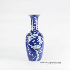 RYLU116_Long neck blue and white floral ceramic vase