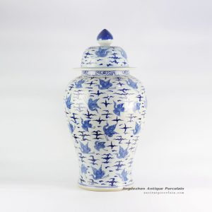 RYLU122_Chinoiserie crane pattern home decor ceramic ginger jar