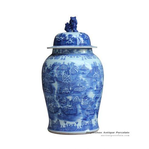 RYLU123_Vivid lion cap hand drawing oriental scenery pattern ceramic temple jar