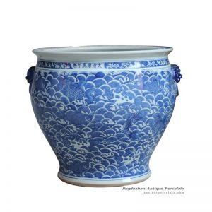 RYLU124-A_Large volume hand paint carp pattern gaint ceramic outdoor pot