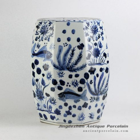 RYNQ195_Hexagon shape blue and white hand paint fish and water weed pattern Jingdezhen porcelain bathroom stool