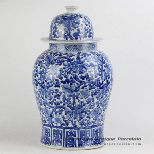 RYNQ196-B_Hand paint blue and white floral porcelain container