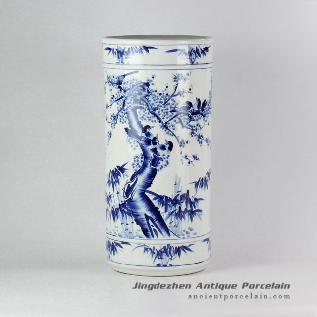 RYPB05-A_Chinese hand painting bird floral pattern floor standing tall ceramic vase