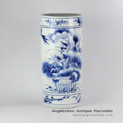 RYPB05-B_Blue and white plum blossoms orchid bamboo and chrysanthemum edge lotus flower and bird pattern poetic hand painting flavor ceramic umbrella stand