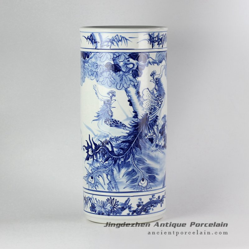 RYPB05-C_ Blue and white lover collection hand paint phoenix pattern ceramic wedding decor vase