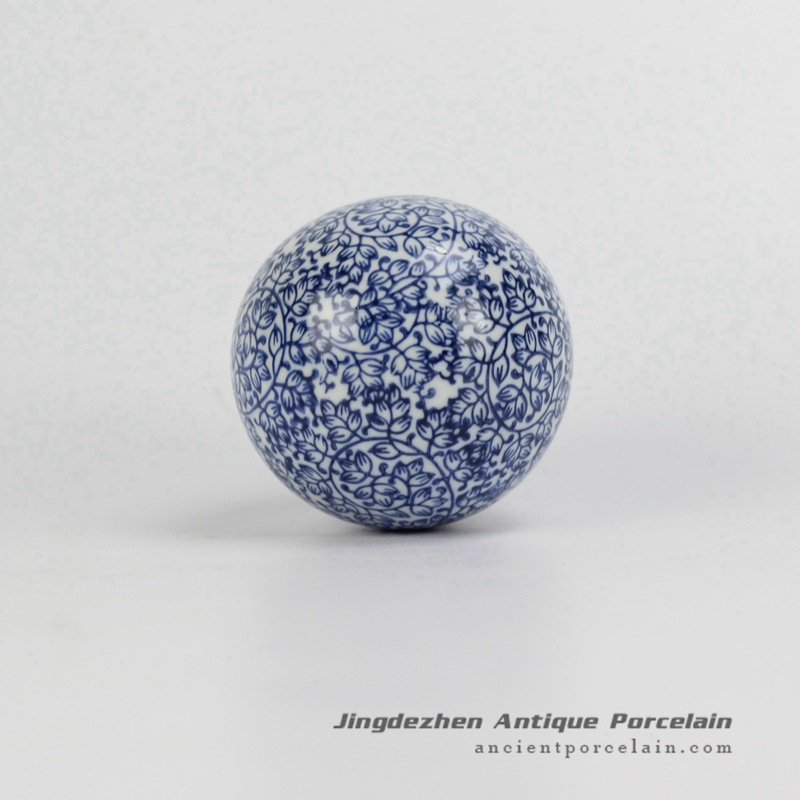 RYPU23-F_Blue and White blossom painting Cearmic Ball