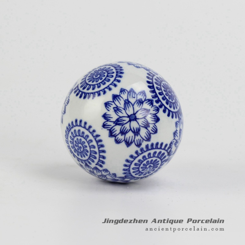 RYPU23-d_Blue and White flower painting home decoration Cearmic Ball