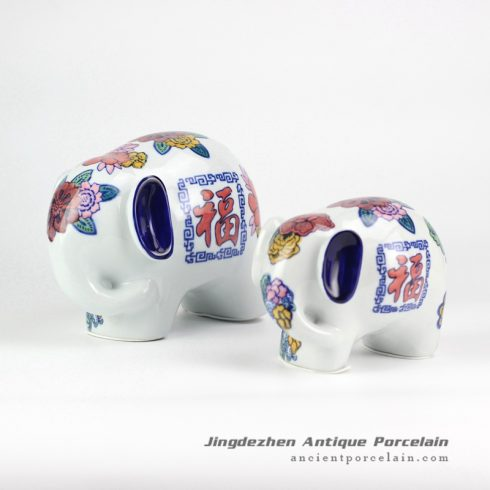 RYPU30-B_colorful big and small elephants ceramic sculpture figurine
