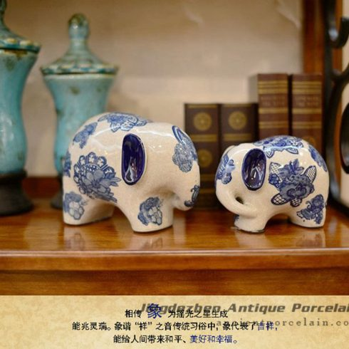 RYPU30-C_Blue and white decorative elephants ceramic animal doll ornaments