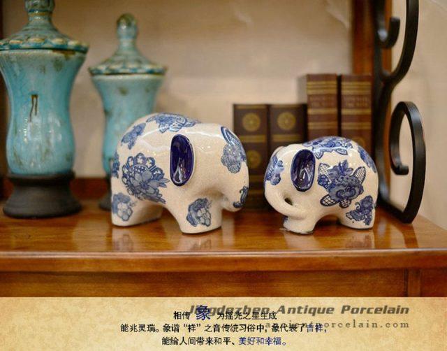 RYPU30-C_Blue and white decorative elephants ceramic animal doll ornaments