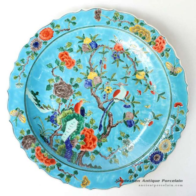 RYQQ37_17.5inch Chinese Hand painted Flower bird design Porcelain Plate