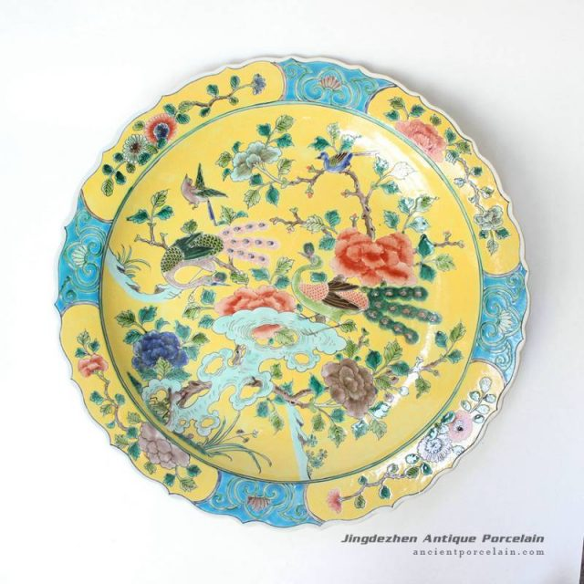 RYQQ38_17.5inch Plain tricolour Qing dynasty reproduction Chinese Porcelain Plate